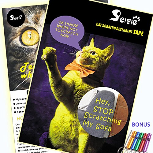 petgle Cat Scratch Deterrent Tape,Best Cat Deterrent Devices for Sofa,Cat Anti Scratch Furniture Protector,Biggest Size on Market 5 Sheets 18x12 inches,Golden Partner of Cat Scratching Post &Pad