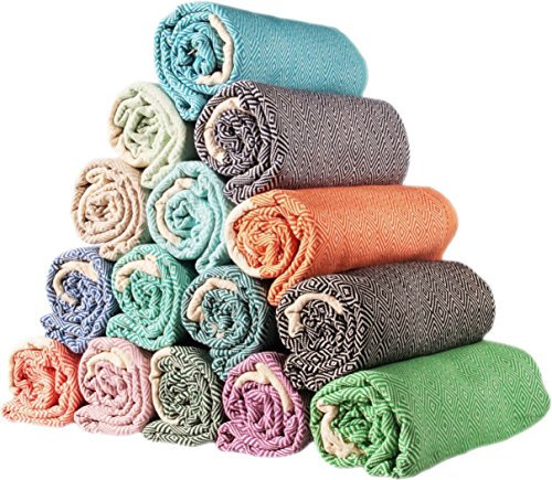 istanbulx SET of 6 - New Season Brightest Diamond Weave Turkish Cotton Bath Beach Hammam Towel Peshtemal Blanket
