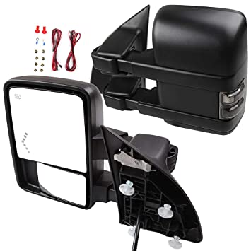 LEFT+RIGHT 1999-2007 Ford F250//F350//F450 Power+Heated+Smoke Signal Tow Mirrors