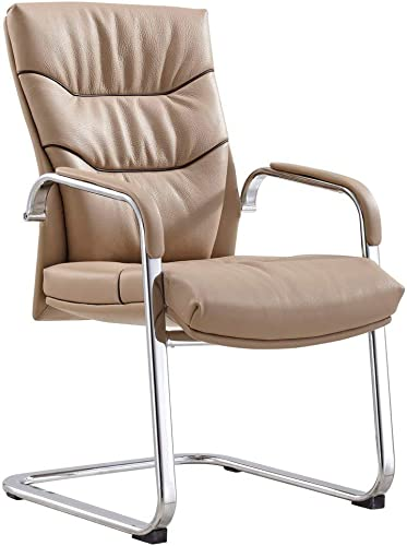 Modern Carnegie Leather and Chrome Side Chair