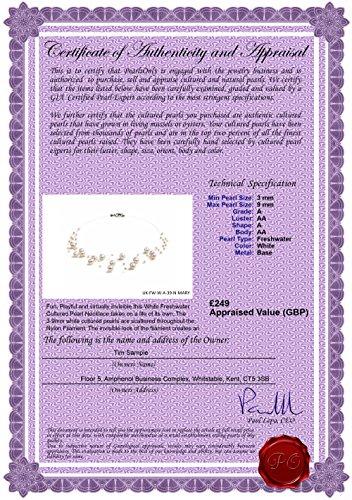 PearlsOnly - Blanc 3-9mm A-qualité perles d'eau douce -Collier de perles