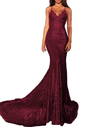 176f128f3c5 Womens Spaghetti Straps Long Prom Dresses 2019 Sequin Mermaid Formal  Evening Gowns Size 2 Burgundy