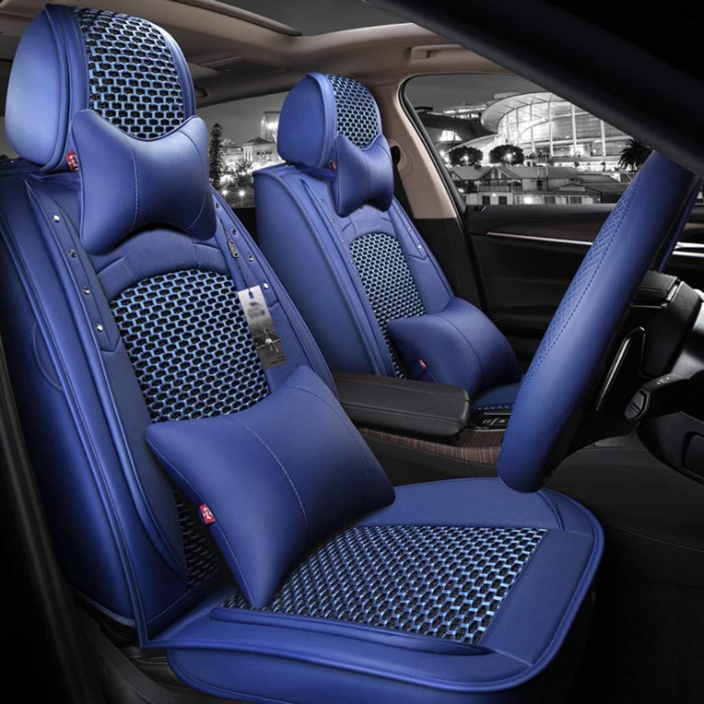 カーシートカバーセット、人工皮革ユニバーサルフルセットカーシートクッション通気性のカーシートプロテクターエアバッグ対応自動車アクセサリーインテリアM-12 (色 : 青, サイズ さいず : A) A 青 B07R9PM94Q