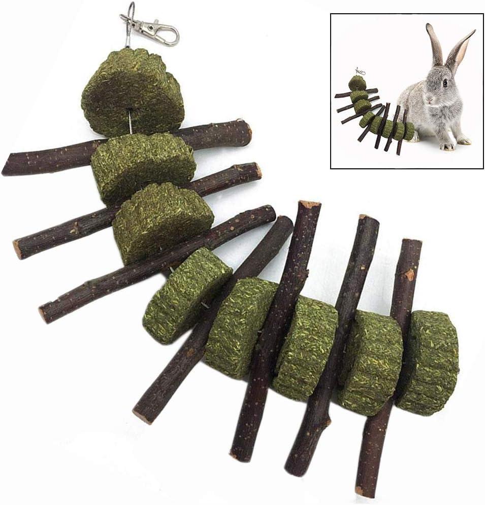 LHKJ Palitos Rama de Manzana Natural y Hierba Bola para Dientes de Molienda Masticar para Conejos, Chinchillas, Hamsters ect