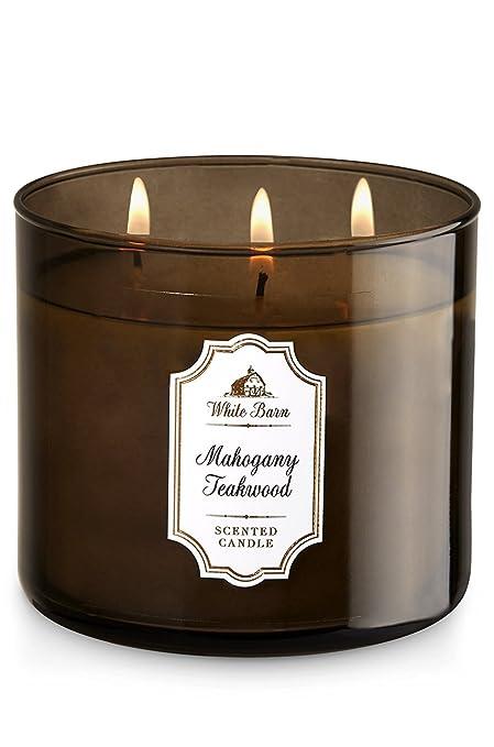 Amazon.com: Bath & Body Works, White Barn 3-Wick Candle, Mahogany ...