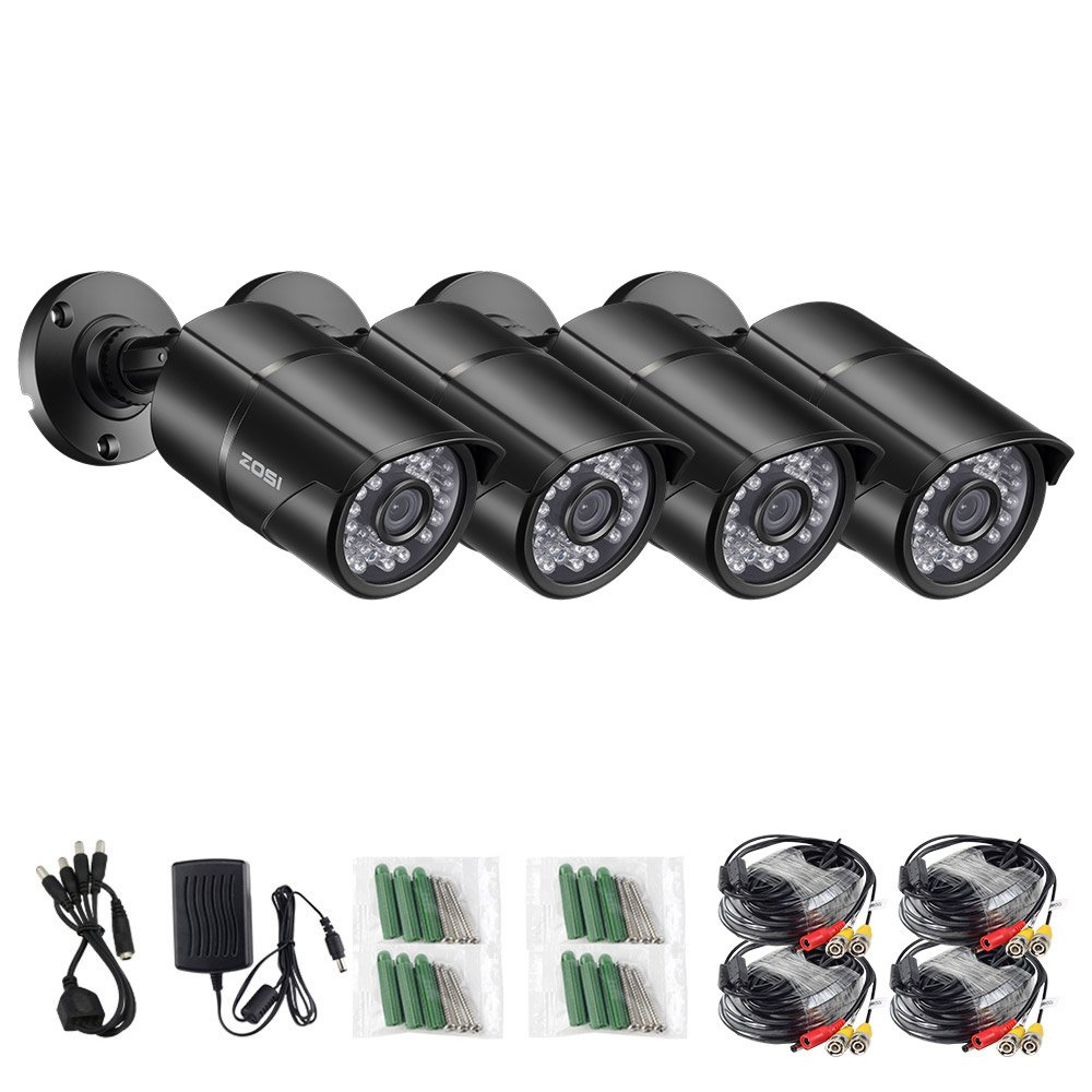 ZOSI 4PCS 1/3 Color CMOS 960H 1000TVL Wide Angle 3.6mm lens Outdoor/Indoor IR Security Surveillance CCTV Bullet Cameras Kit with 65ft Cables - Aluminum Casing,100ft 30m night vision by ZOSI