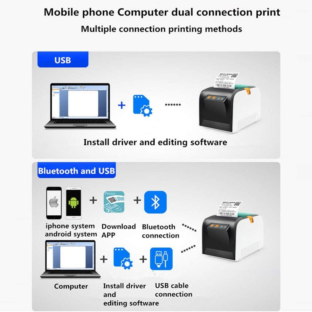 HM2 USB Bluetooth Thermique Imprimante /Étiquette Imprimante 80 Mm Code Barre V/êtements Restauration Supermarch/é D/étail Recette Imprimante Support ISO//Android,USBconnection
