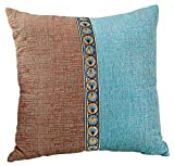 M MOCHOHOME Decorative Chenille Square Patchwork Euro Throw Pillow Cover Case Pillowcase Cushion Sham - 24'' x 24'', Pale Turquoise/Coffee