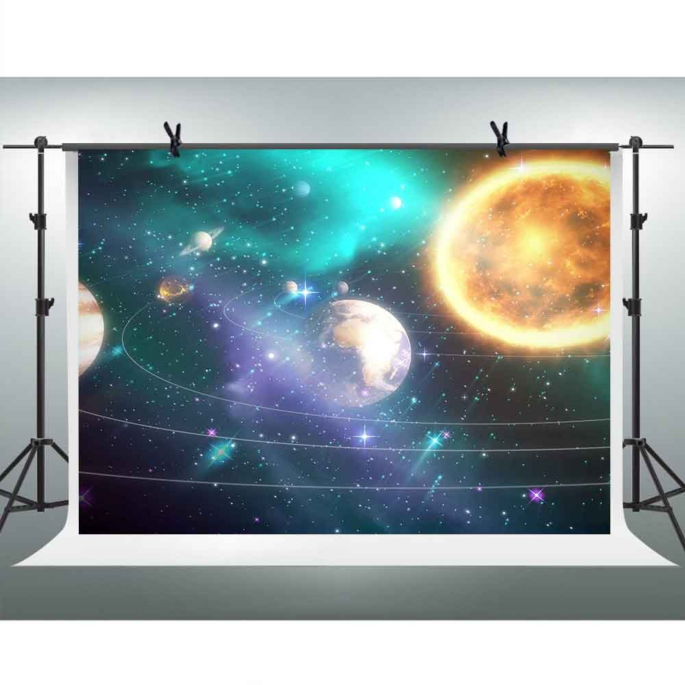 Solar System Photography Backgrounds 10x7ft FHZON Vast Universe Sun Earth Backdrop Astronomy Enthusiast Baby Newborn Photography Wallpaper Photo Booth Video Props LXFH214