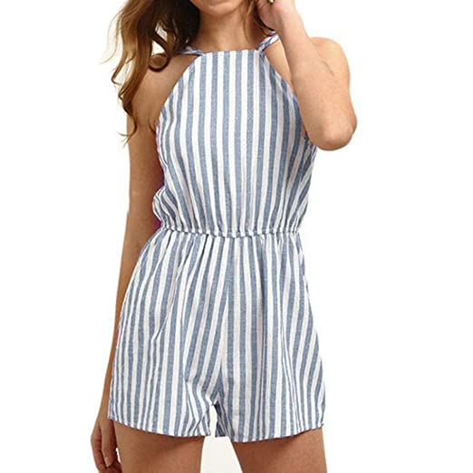 d660444332b vermers Clearance Women Summer Playsuits Casual Sleeveless Striped High  Waisted Beach Camisole Jumpsuit(S