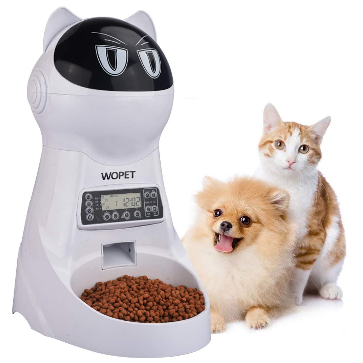 WOpet 自動給餌器 自動餌やり器 猫 中小型犬用 ペット自動餌やり機 タイマー式 録音可 最大15日連続自動給餌 3.5L容量 中小型犬猫 (ホワイト) product image