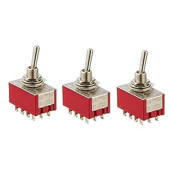 2 Pcs AC 250V 2A 125V 6A 12 Pin 4PDT ON//ON Self Locking Toggle Switch