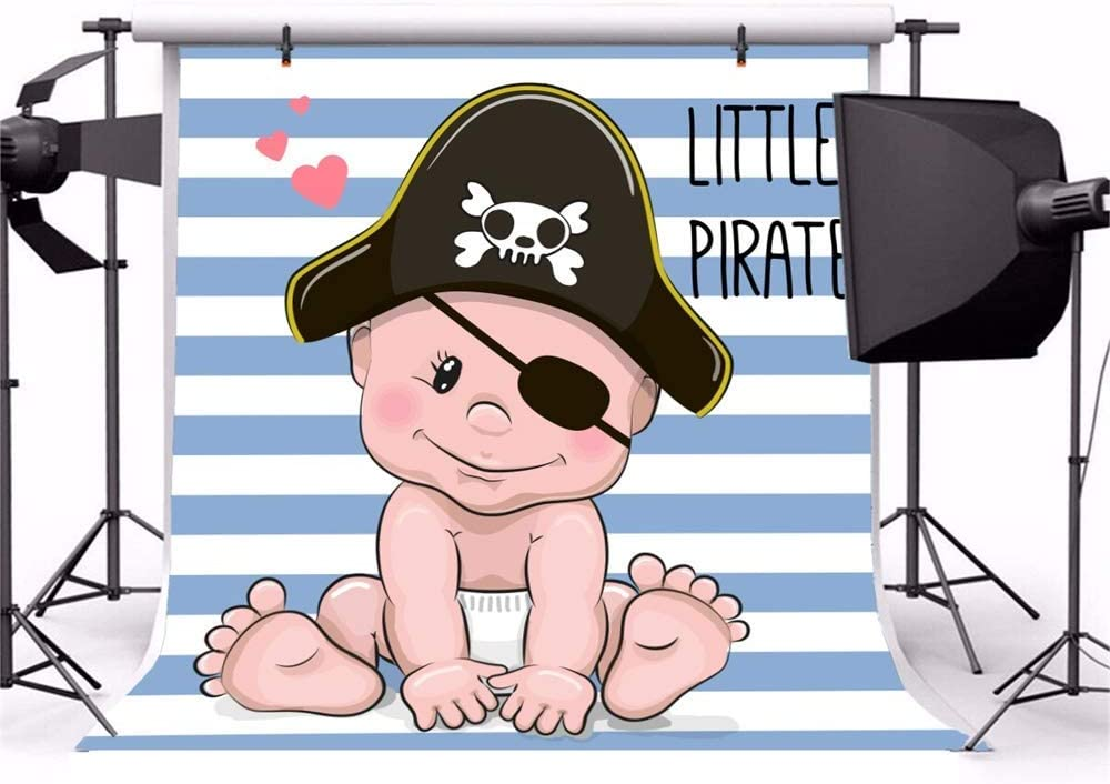 10x10ft Cartoon Cute Baby Shower Backdrop Vinyl Little Pirate Cute Baby Wearing Pirate Blinder Hat Diaper Illustration Blue Stripes Red Heart Background Boy Baby Shower Birthday Party Banner