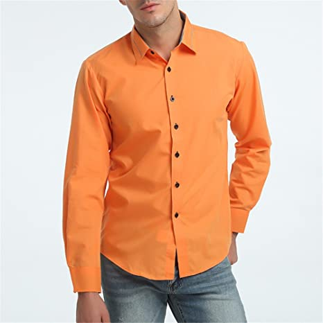 GK Hombre Camisa Moda Casual Camisa de Vestir Slim Fit La moda masculina camisa de manga larga, naranja, XL: Amazon.es: Deportes y aire libre