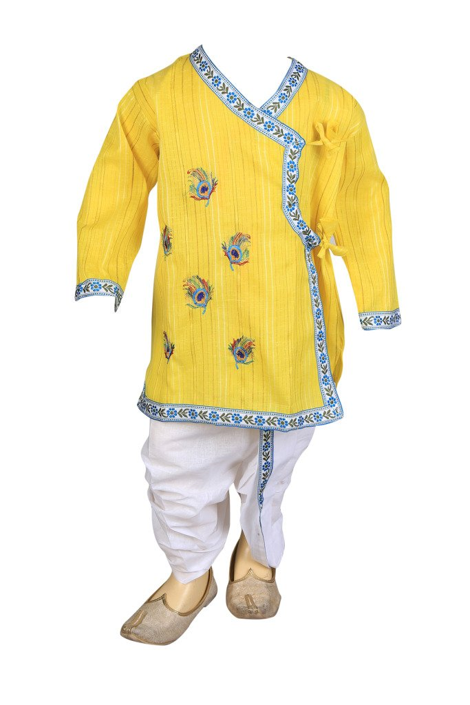 Focil Diwali Special Yellow Peacock Feather EMBROIDERED Dhoti & Kurta Pant Set For Kids