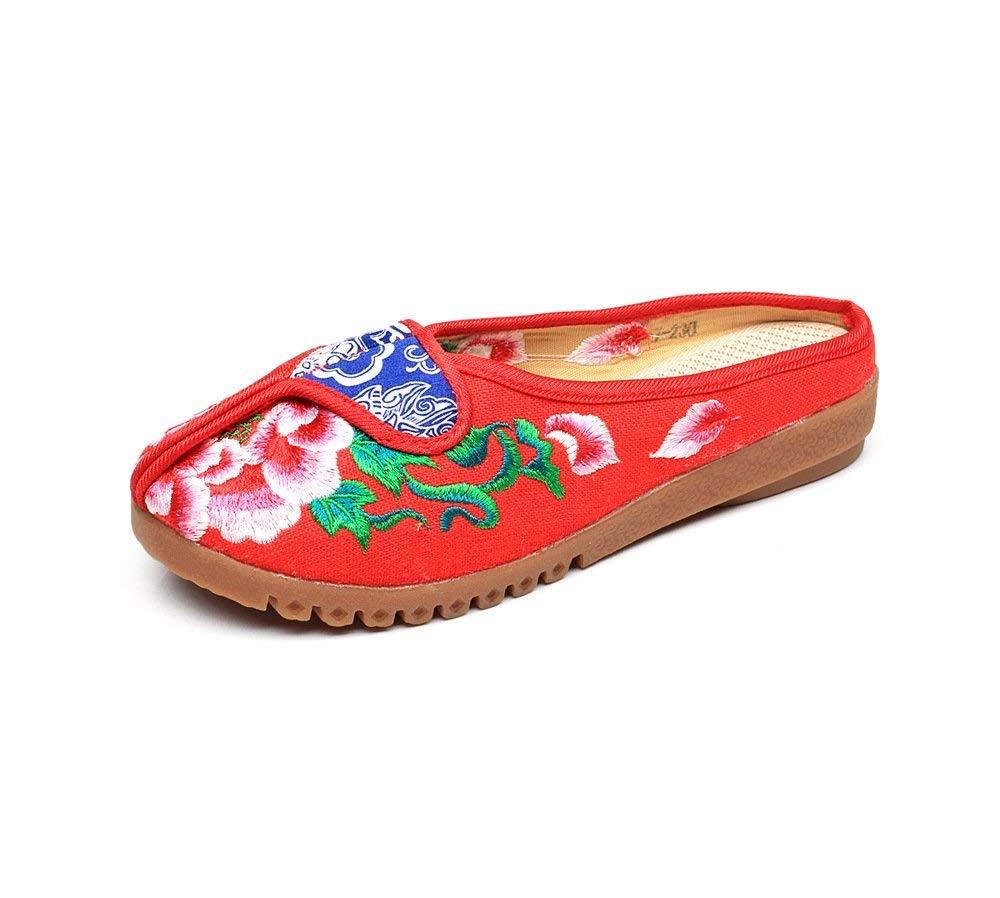 HhGold Bestickte Schuhe Sehnensohle ethnischer ethnischer ethnischer Stil weiblicher Flip Flop Mode bequem Sandalen rot 38 (Farbe   - Größe   -) 1e24e3