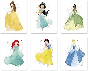 Princess Wall Decor Poster Art Prints - 8x10 Watercolor Painting Paper - Set of Six - Ariel Jasmine Cinderella Snow White Belle Tiana - Great Room Nursery Decorations P34 by PGbureau