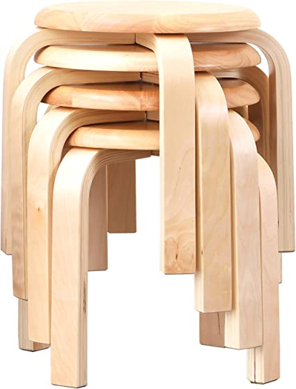 Sgabello in legno sgabello da cucina soggiorno 45,5 x 30 cm arredamento decorazione per la vostra cucina sgabello impilabile la vostra sala da pranzo o la casa bianco