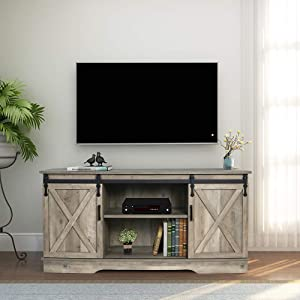 GHQME Sliding Barn Door TV Stand,58 Inch Storage Table,Wood Universal Stand,Living Room Storage Shelves Entertainment Center