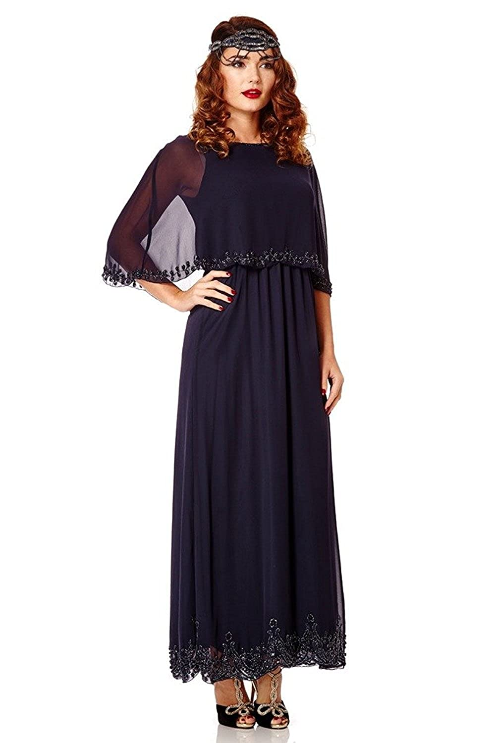 1920s Dresses UK | Flapper, Gatsby, Downton Abbey Dress Carolyn Vintage Inspired Maxi Cape Dress in Navy Blue £49.00 AT vintagedancer.com