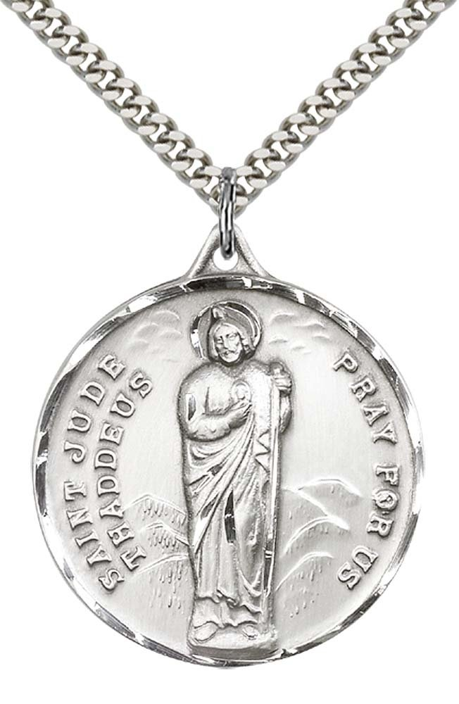 Sterling Silver St. Jude Pendant with 24'' Stainless Steel Heavy Curb Chain. Patron Saint of Desperate Situations