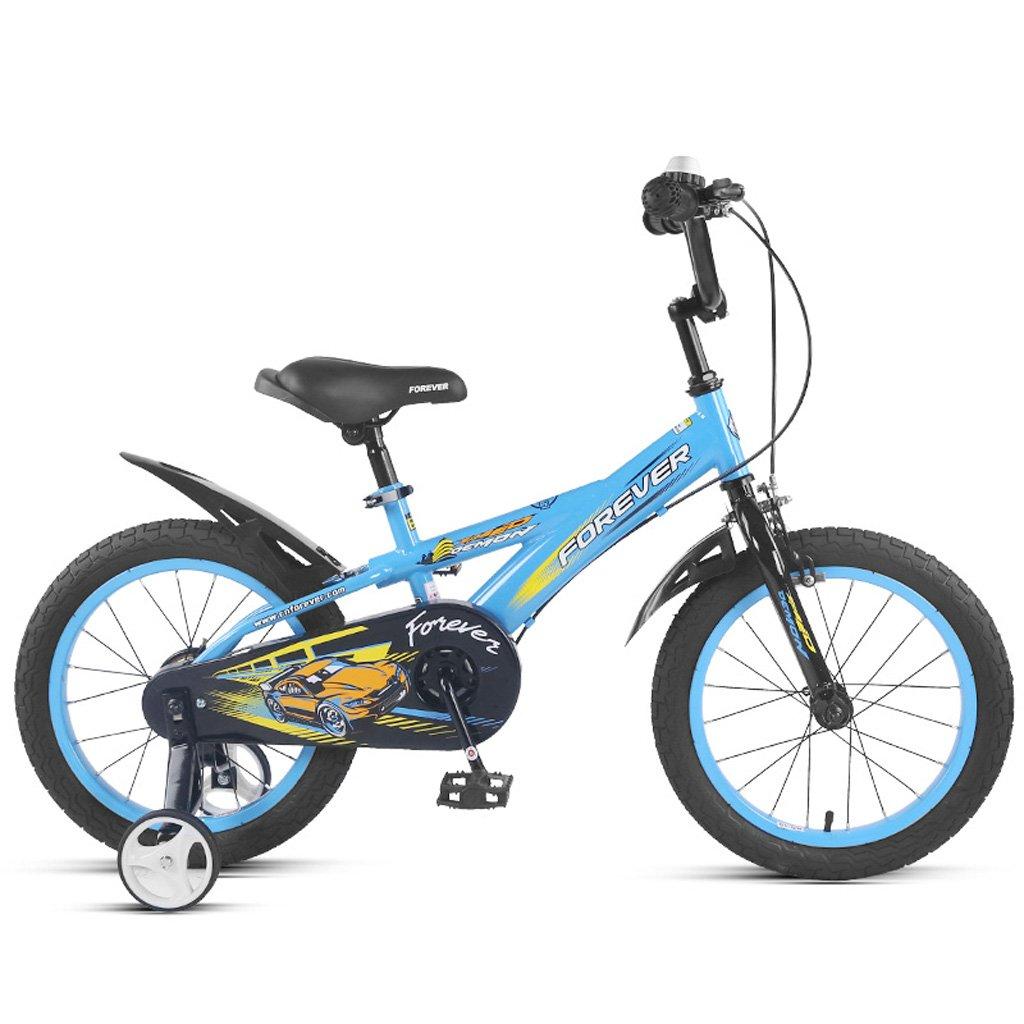 子供用自転車14インチハイカーボンスチール自転車ベビーカー3-5歳の少女/マウンテンバイク、ブルー/イエロー (Color : Blue) B07CWML3D6