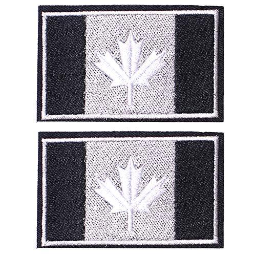 SHELCUP 2 Pcs Canada Flag Patches, Tactical Tags Morale National Emblem Patch for Backpack, Hats, Jackets, Team Uniform, Black