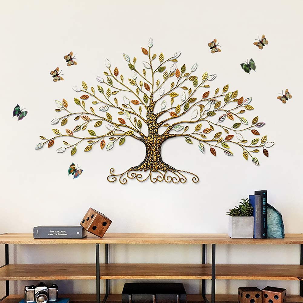 Tree of Life Colorful Rich Tree 3D Abstract Colorful Metal Wall Art Sculptures Home Decor European Style Iron Decoration Old Processing Metal Wall Art Handmade