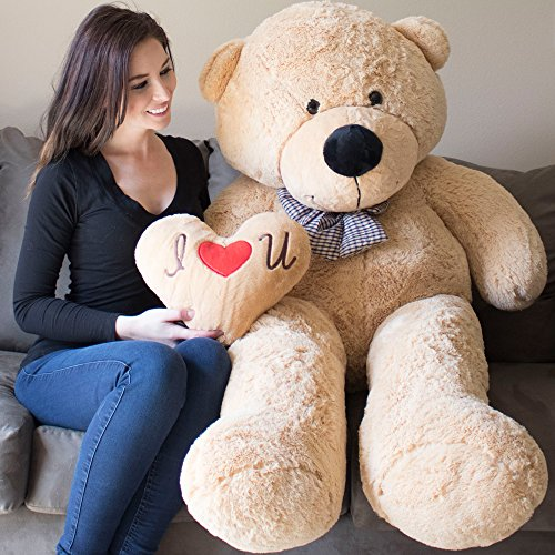 Jumbo Bear Plush Teddy - YESBEARS Giant Teddy Bear 5 Feet Tan Color Ultra-Soft (Pillow Included)