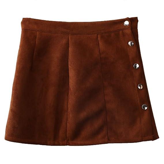 Kaizizizi Faldas de Cintura Alta con botón de Piel de Ante para ...