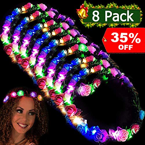 LED Flower Headbands Crowns for Girls and Women Handmade Floral Wreath 10 LED Light Up Flowers Head Wreath Accessories Party Supplies Wedding Concert Holiday Party Pack Birthday Gift 8 Pcs