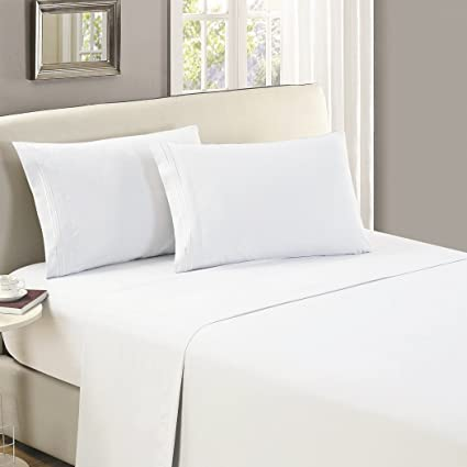 Mellanni Flat Sheet Queen White   HIGHEST QUALITY Brushed Microfiber 1800  Bedding Top Sheet   Wrinkle