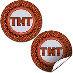 "Pixel Miner TNT Themed Thank You Sticker Labels for Kids, 40 2"" Party Circle Stickers by AmandaCreation, Great for Party Favors, Envelope Seals & Goodie Bags"