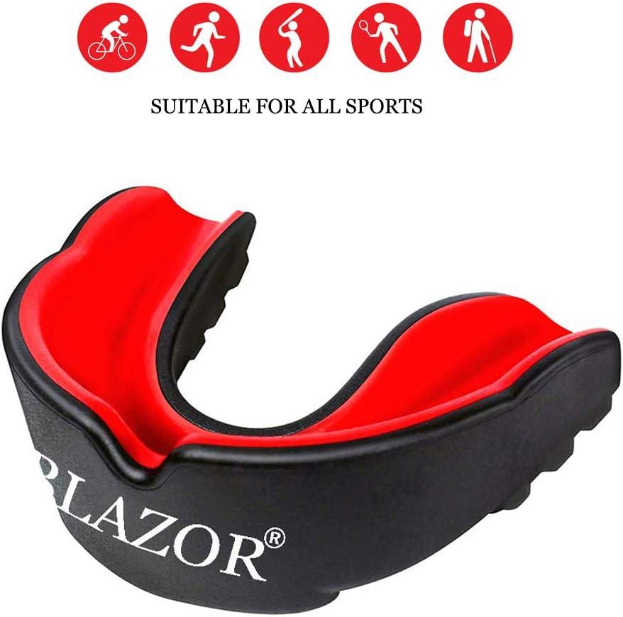 BLAZOR Protector Bucal Protector de Dientes Sports Mouthguard para el Karate, fútbol de la Bandera, Artes Marciales, Rugby, Hockey, Boxeo (con Funda ventilado)