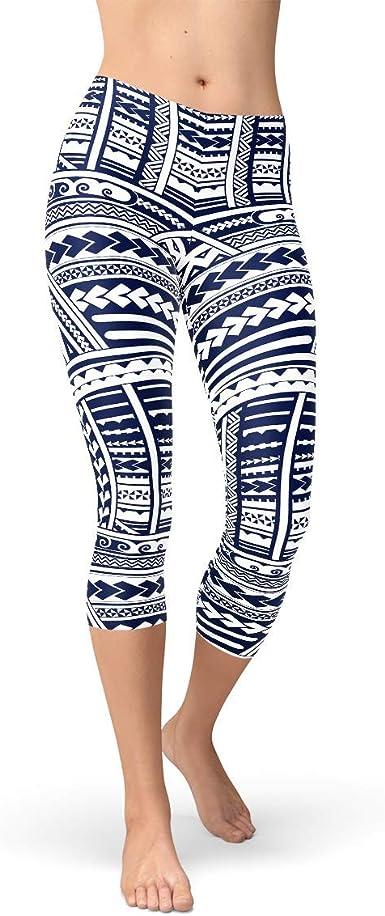 Satori Stylez Geometric Capri Leggings Mid Rise /& Mid Calf Length Pants w Gold Cubic Pattern