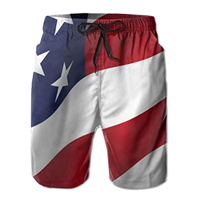 Chion Men's Quick 3D Printing Dry Beach Shorts American Flag Casual Shorts