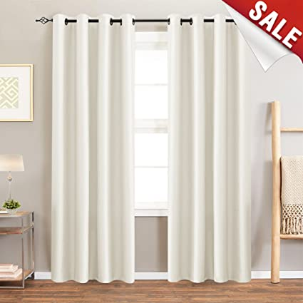 Blackout Curtains For Bedroom Pearl White 95 Inch Quality Faux Silk Window One Set