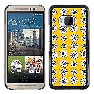 DEMAND-GO Smartphone Rígido Protección única Imagen Carcasa Funda Tapa Skin Cover Case Para HTC One M9 - yellow floral pattern flowers modern