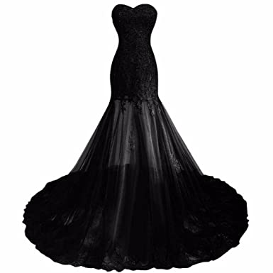 Verabeauty Womens Mermaid Lace Prom Dress Tulle Evening Dress Embellished with Beads Black Size 2