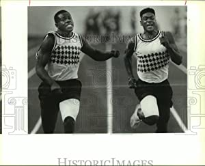 Historic Images 1992 Press Photo Highlands High School Track Runners at 100 Meter Dash Race - 8 x 10 in