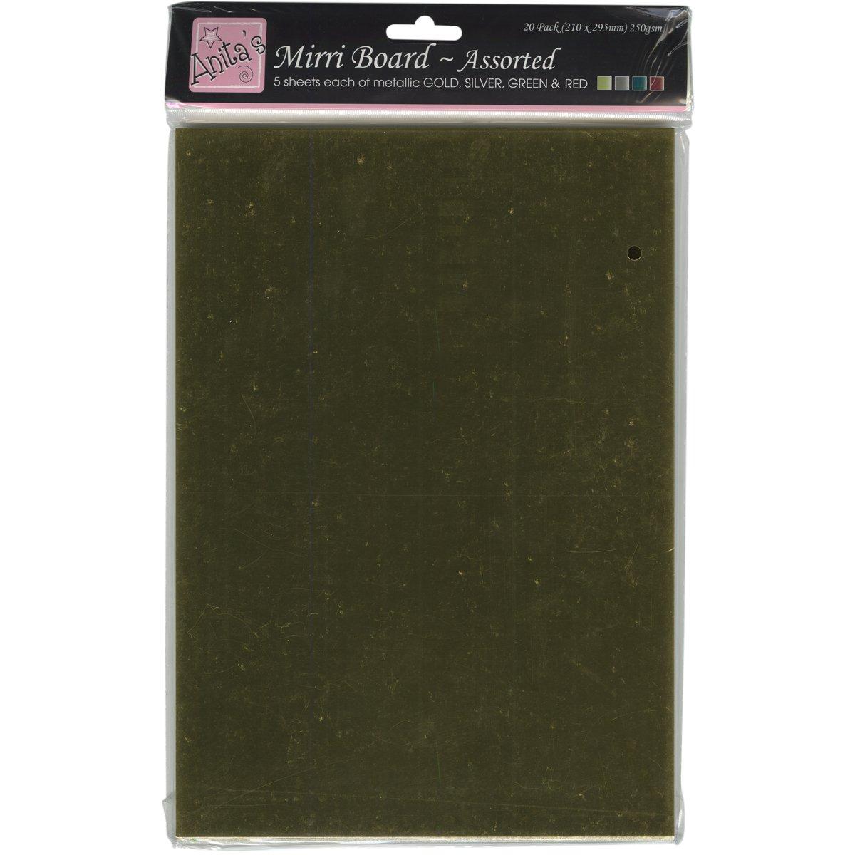 Anitas - Cartoncino lucido, grammatura 250, 20 fogli A4, colori assortiti (oro, argento, verde, rosso) docrafts A1641003