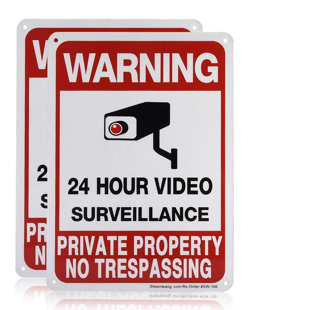 Sheenwang 2-Pack Private Property No Trespassing Sign, video surveillance signs outdoor, UV Printed .040 Mil Rust Free Aluminum 10 x 7 in, Security camera sign for home, Business, Driveway Alert, CCTV