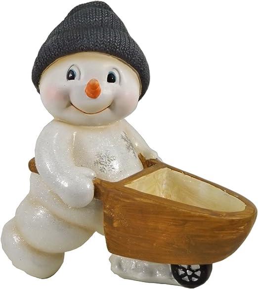 Muñeco de nieve con gorro carretilla schiebkarre Jardinera decorativa Jardín Figura: Amazon.es: Jardín