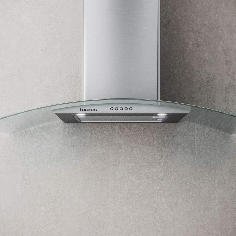 Taurus Hermitage 90 Glass - Campana extractora decorativa 90 cm de 550 m3/h., 3 niveles de potencia, iluminación LED, 1 filtro de 5 capas, acero inox, color plata: Amazon.es: Grandes electrodomésticos
