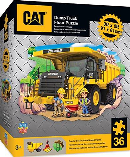 Construction Vehicles Shaped Puzzle - MasterPieces Caterpillar Dump Truck - 36 Piece Kids Shaped Floor Puzzle