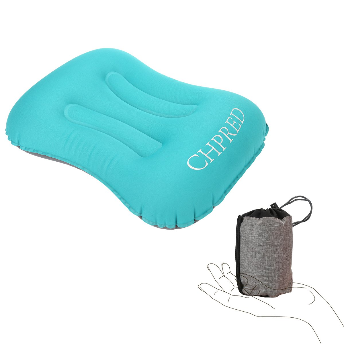 Travel Air Pillow for Backpacking Hiking Airplane Ultralight 3oz Compact Pocket Size Inflatable Camping Pillows Comfortable Ergonomic Design for Side /& Back Sleepers