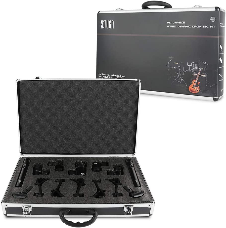 Use For Drums Inserts Vocal Mics Holder XTUGA NEW MI7 7-Piece Metal Wired Dynamic Drum Mic Kit- Kick Bass Other Instrument Complete with Thread Clip Tom//Snare /& Cymbals Microphone Set