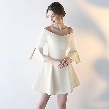d20fcf5f41 Evening dress Short paragraph banquet Bridesmaid dress Female summer Party  dress seven-point-Horn