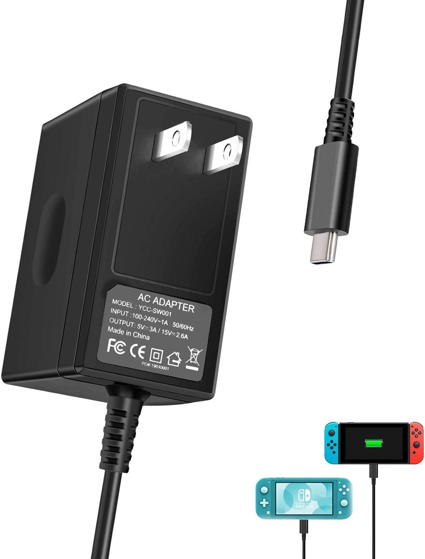 Cargador para Nintendo Switch y Nintendo Switch Lite 2019, adaptador de CA portátil con cable de alimentación de 5 pies para Nintendo Switch Dock/Pro Controller, soporte de modo TV y sistema NC