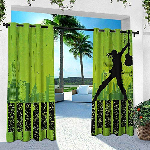 Hengshu Popstar Party, Outdoor Curtain Waterproof Rustproof Grommet Drape,Music in The City Theme Singer with Electric Guitar on Grunge Backdrop, W84 x L108 Inch, Lime Green Black